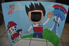 Trifold board $1 at dollar store. Just draw and paint the image you want for the kids and cut out the face for them to poke their head through for photos. I drew this one of Paw Patrol