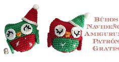 ´Patrón gratis para realizar búhos navideños ideales para decorar el árbol.