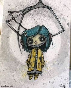 Coraline Td cry baby sab ki a melanie e Fã desse filme Creepy Drawings, Dark Art Drawings, Halloween Drawings, Art Drawings Sketches, Halloween Art, Creepy Sketches, Random Drawings, Kawaii Halloween, Tattoo Sketches