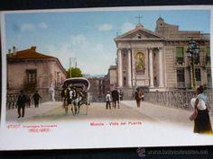 MURCIA.- VISTA DEL PUENTE (Postales - España - Murcia Antigua (hasta 1.939)) Murcia, Remo, Antique, Travel, Vintage Postcards, Antique Photos, Old Bridges, 19th Century, Palaces