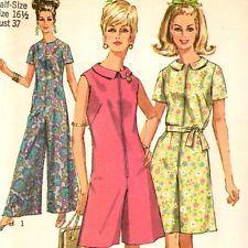 vintage SUMMER JumpSuit Pantdress pattern zip front retro Sz 14 1/2 FREE SHIP
