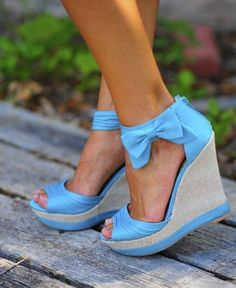 shoes wedges bow summer cute