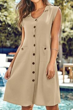 Tan Front Button Dress with Pockets Skirt Fashion, Hijab Fashion, Fashion Dresses, Simple Dresses, Casual Dresses, Short Dresses, Hijab Stile, Wrap Dress Short, Mode Chic