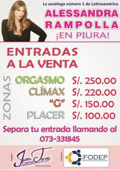 ALESSANDRA RAMPOLLA EN PIURA - PERÚ. EL 23 DE AGOSTO DE 2014, A LAS 05:30 PM, EN EL AUDITORIO MANUEL MONCLOA DE LA UNIVERSIDAD NACIONAL DE PIURA. ENTRADAS A LA VENTA AL 073-331845.