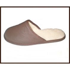 Ladies Slippers Men Slippers Natural Leather Mule Slippers Real Wool