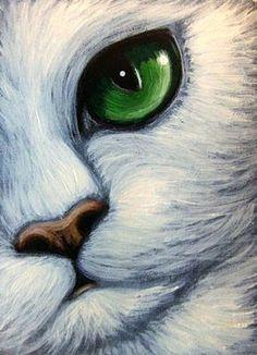"""White Cat Emerald Eyes"" par Cyra R. Art Drawings Sketches, Animal Drawings, Easy Drawings, Oil Pastel Art, Color Pencil Art, Animal Paintings, Cat Art, Painting & Drawing, Watercolor Art"