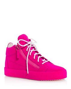 Giuseppe Zanotti Velvet Zipper Mid Top Sneakers