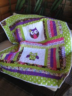 Lime green, pink, brown, and purple baby girl owl quilt. $125.00, via Etsy.