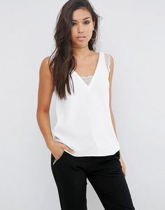 Buy ASOS DESIGN deep plunge lace insert camisole vest at ASOS. Get the latest trends with ASOS now. Casual Hijab Outfit, Elegant Outfit, Casual Outfits, Look Fashion, Fashion Outfits, Womens Fashion, Asos, Retro Stil, Lace Insert