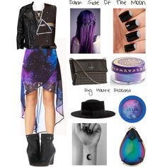 """Dark Side Of The Moon"" by hauteblooded on Polyvore. This look includes a cosmic high low skirt, Pink Floyd tee, and necklace by Forever 21. It also includes a Viparo cropped leather jacket, a Saint Laurent belt, a Kate Spade studded purse, a Gladys half moon hat, Rachel Roy boots, Stila tie dye eye shadow, a Baccarat psychedelic ring, Zodiac cosmic glitter by Nasty Gal, a moon wrist tattoo, a black and gray moon mani, and a purple ombre waterfall braid."