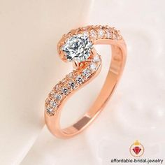 1.00 Carat  Diamond Round Cut Bypass Promise Ring in 14k Rose Gold Finish  #Affordablebridaljewelry #WithDiamonds #EngagementWeddingAnniversaryPromiseValentines
