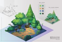 Hand-Painted Diorama in Maya & Photoshop by Harry Stringer: Concept Environment Painting, Environment Concept Art, Environment Design, Game Environment, Isometric Art, Isometric Design, Game Design, Star Academy, 2d Game Art