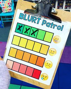My class is chatty! So today I took one of my chattiest kiddos and had them be the blurt patrol. Man it was amazing!