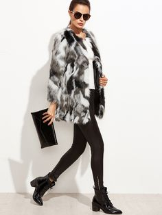 46$  Watch now - http://diht4.justgood.pw/go.php?t=9490 - Multicolor Faux Fur Collarless Coat 46$
