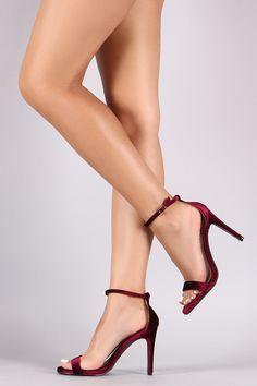 Qupid Velvet Open Toe Heel