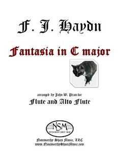 """John Pratt has created a delightful arrangement of Haydn's """"Fantasia in C major"""" (written in 1789 for the pianoforte) as a duet for flute & alto flute. The style and playfulness of the piece are beautifully suited to the agility and sparkle of flutes. The transcription captures the feel Haydn intended, with new coloring, while at the same time affording flutists the joy of experiencing the work first-hand."""