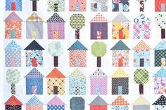 My Town Quilt Blocks {Free Tutorial using charm squares} — Material Girl Quilts House Quilt Patterns, House Quilt Block, Quilt Square Patterns, House Quilts, Tree Patterns, Quilt Patterns Free, Square Quilt, Quilt Blocks, Quilting Tutorials
