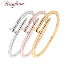2014 New TOP QUALITY Stainless Steel Nail Bracelet Silver/Rose Gold/18K Real Gold Plated  Women Jewelry Nail Screw Cuff  Bangle
