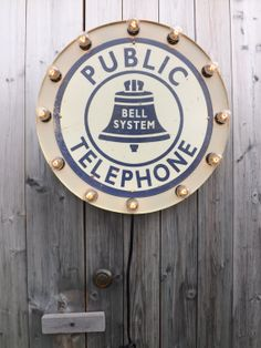 Retro Public Telephone Booth Sign by HitandMissLimited