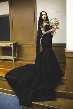 Wedding Dress Fantasy - Black Gothic Wedding Gown, $1,315.00 (http://www.weddingdressfantasy.com/black-gothic-wedding-gown/) #gothicweddingdress #blackweddingdress
