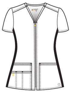 WonderWink Four-Stretch Women's Zip Front Top Scrubs Outfit, Scrubs Uniform, Scrubs Pattern, Stylish Scrubs, Beauty Uniforms, Medical Uniforms, Medical Scrubs, Scrub Tops, Costume