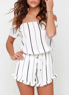 Shop Off The Shoulder Vertical Striped Peplum Hem Romper online. SheIn offers Off The Shoulder Vertical Striped Peplum Hem Romper & more to fit your fashionable needs. Casual Outfits, Cute Outfits, Fashion Outfits, Off Shoulder Romper, Cute Rompers, Chor, Stylish Dresses, Jumpsuits For Women, Spring Outfits