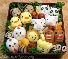 Wonder what Bento is? Here are Creative Edible Animal Art Ideas for Bento lunches. Bento Kawaii, Japanese Bento Lunch Box, Bento Box Lunch, Bento Food, Lunch Boxes, Bento Lunchbox, Japanese Sushi, Cute Bento Boxes, Japanese Food Art