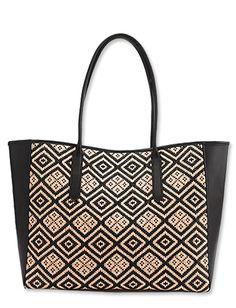 Diamond patterned raffia make J.Crew's Tartine tote ($398 at jcrew.com) an ideal bag for an island getaway.