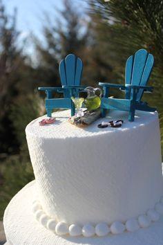 Beach Theme Wedding Cake Topper  Adirondack Chairs - Jimmy Buffett Style -  Plus Flip Flops  - by Landscapes In Miniature. $27.50, via Etsy.
