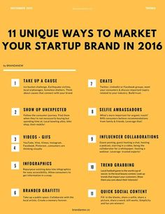 #Startup #Marketing #Tips Startups come up by the minute. Here are unique ways to market your Startup brand in 2016 and ensure that you stand out.   Small steps make a big difference via brandanew.co