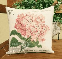 Pink Hydrangea Pillow Cover  100% Cotton Canvas  12 x