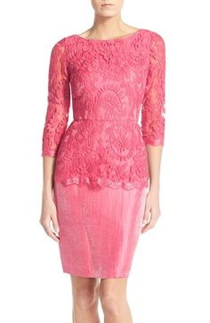 Adrianna Papell Floral Embroidered Peplum Sheath | Nordstrom