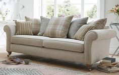 Morland Plain 4 Seater Pillow Back Sofa Morland Living Room Designs, Living Room Decor, Cream Living Rooms, Dfs Sofa, Fabric Sofa, Sofas, Love Seat, New Homes, Relax