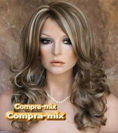 cabello castano con luces | Peluca Super Natural Larga Color Castaño Con Luces, Mmy (Cabello) a ...
