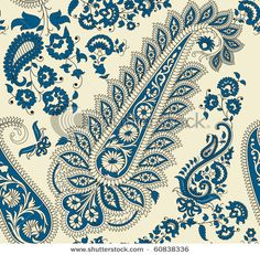 Seamless paisley pattern in blue