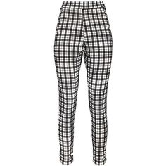 Boohoo Harper Flocked Checked Treggings (575 UYU) ❤ liked on Polyvore featuring pants, leggings, checked leggings, checkerboard leggings, checked trousers, checkerboard pants and flat-front pants