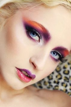 Purple, orange, and red makeup!  Visit www.AstuteArtistryStudio.com or call (248) 477-5548 for more information about Astute Artistry and the Center For Film Studies in Farmington Hills, MI!