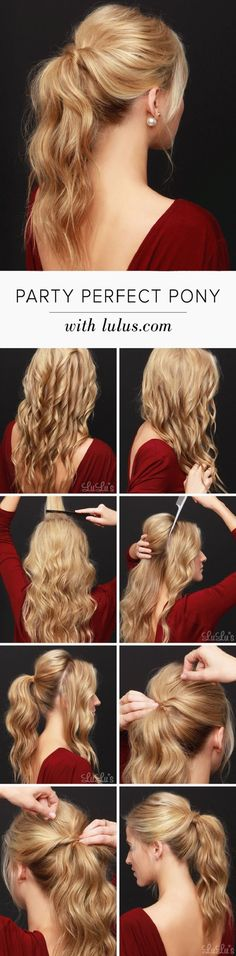 Party Perfect Ponytail Hair Tutorial - 12 Party Perfect Beauty Tutorials That'll Make You Sparkle | GleamItUp