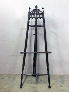 Antique French Gothic Easel Painting Art Work Display 19th Century #5881