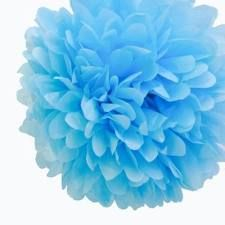 Powder blue tissue paper pom poms www.thecompletekidsparty.com.au