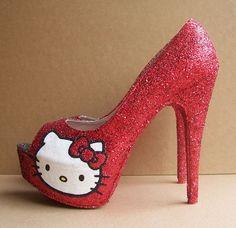 Red Hello Kitty Peep Toe High Heels