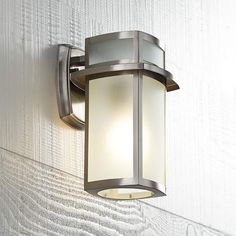 """Brushed Nickel Frosted Glass 11 1/4"""" High Outdoor Wall Light - #U1390   Lamps Plus"""