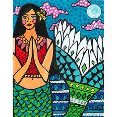Heather in Hawaii Mermaid Original Painting Folk Art Galler North Shore Surfing