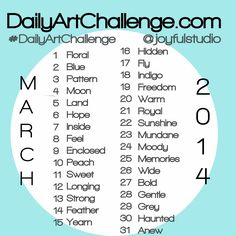 DailyArtChallenge.com: March 2014 Daily Art Challenge Prompts