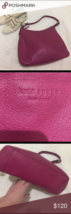 """GUC: Kate Spade, Leather bag. Kate Spade, magenta, one strap, shoulder bag. Leather, 2 sliding pockets and one zipper pocket. Zippers are gold. Tiny stain at the inside bottom of the bag. Older than 10 years, only a few times. See 4th photo on """"pieces of my closet"""". Dimensions: H-10 in x W- 13 in x depth- 4 in. kate spade Bags Shoulder Bags"""