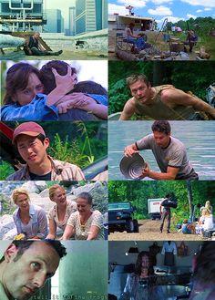 """The Walking Dead - Seizoen 1 / Aflevering 3: """"Tell it to the Frogs"""". *** De groep weet te ontsnappen en keert terug naar het kamp in de heuvels van Atlanta. Ze laten Merle Dixon achter die Rick heeft vastgeboeid aan het dak wegens een slaande ruzie. Rick ziet voor het eerst weer zijn gezin terug. De jongere broer van Merle Dixon, Daryl, verblijft ook in dit kamp en is vastberaden om zijn broer terug te halen. Rick besluit samen met Daryl, Glenn en T-Dog om Merle op te gaan halen in Atlanta."""