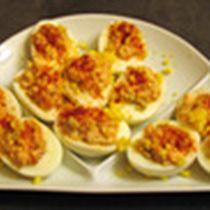Deviled Eggs with Shrimp Recipe - Huevos Rellenos de Gambas: Huevos Rellenos de Gambas (c) 2007 L. Sierra Licensed to About.com