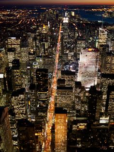 New York City at night by helicopter
