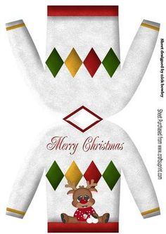 Jumper christmas card with reindeer on Craftsuprint - Add To Basket! Christmas Decoupage, Christmas Card Crafts, Christmas Paper, Diy Christmas Ornaments, Christmas Printables, Christmas Sweaters, Parchment Cards, Free Printable Cards, Nouvel An