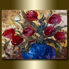 Modern Flower Canvas Oil Painting Tulips Textured por willsonart